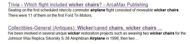 Wicker Chairs on Aircraft? – Live Search for Answers (2/6)