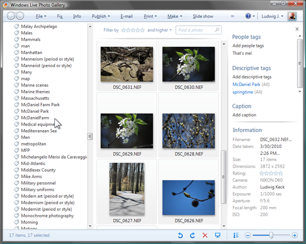 Metadata: Adding information with Windows Live Photo Gallery (5/6)