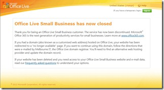 Office Live now closed