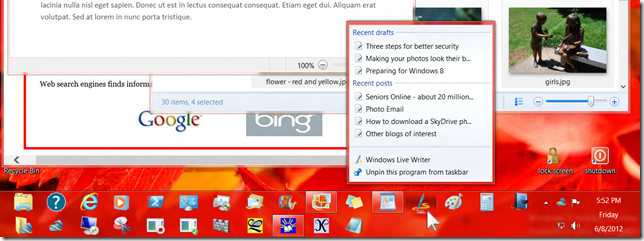 Windows 8 screen with taskbar and jump list