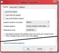 Taskbar Properties dialog