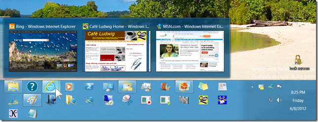 taskbar with preview windows